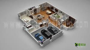 floor plan 3d. Floor Plan For 3D Modern Home With Parking Slot - Design CG 3d