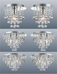 pair of modern chrome ceiling lights flush fitting crystal droplet chandelier