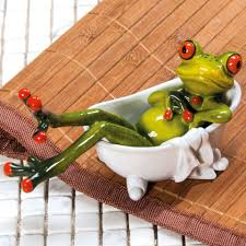 Deko Frosch In Badewanne Badezimmer Dekofigur