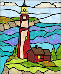 Stained Glass Quilt Pattern Extraordinary Lighthouse 48 Stained Glass Quilt Pattern PES4803 Intermediate Wall