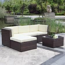 ikayaa 5pcs outdoor patio sectional rattan wicker sofa set brown