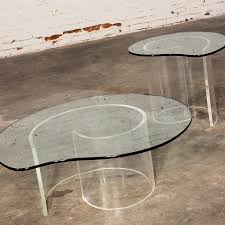 vintage hollywood regency lucite snail coffee side tables in