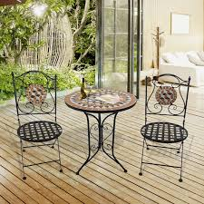 outsunny 3 pcs mosaic bistro table