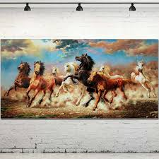 large size animal painting eight galloping horses oil painting hand painted horse wall picture animal canvas