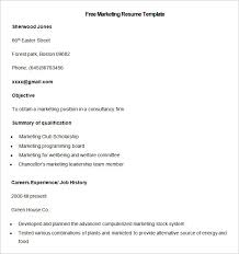 Sample Free Marketing Resume Template. Free Download