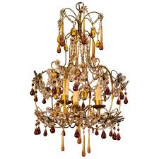 mid century gold italian birdcage 3 light crystal chandelier
