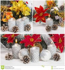 Pine Cone Candles Burning Silver Candles With Pine Cones And Balls On Christmas Ti