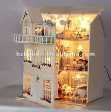 fashion europe diy doll house with light for toys