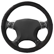 leather steering wheel cover large 14 5 15 5 trucks cars boats protects from hot and cold black bogobrands