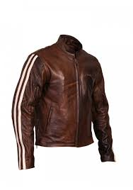 men s retro brown classic stripped cruiser leather motorcycle jacket men s motorcycle jackets men s