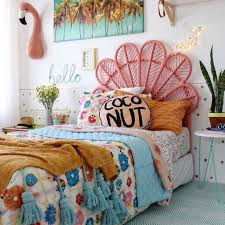 teenage girl room ideas multicolored bed cover on a single bed with a