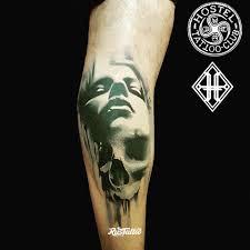 фото татуировки девушка с черепом в стиле 3d акварель портреты