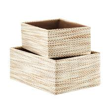 Ivory & Brown Woven Kiva Storage Bins ...