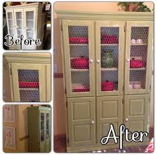 Distressed Hutch with Chicken-Wire Windows / rustic, furniture, diy,  upcycled,