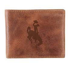 wyoming cowboys leather bifold wallet