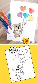 The air balloons in the activity sheets are sometimes here is a collection of some fun and educative hot air balloon coloring sheets for you to choose from. Teddy Bear Holding Heart Balloons Coloring Page 10 Minutes Of Quality Time