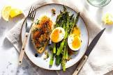 brunch special  eggs with asparagus and chicken