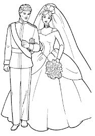 Disegno Di Barbie E Ken Sposi Da Colorare Per Bambini