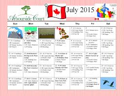 Calendars For June And July 2015 July 2015 Calendar Of Arbourside Court Seniors Activities
