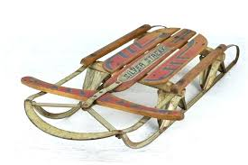 vintage wooden snow sled sleigh blue metal runners old sledges for miscellany plans flexible flyer