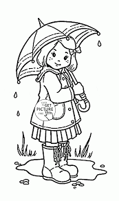 Small Picture Girl and Umbrella coloring page for kids spring coloring pages
