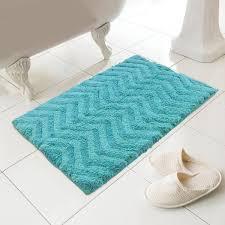luxury 100 cotton chevron design bath mat rug turquoise blue