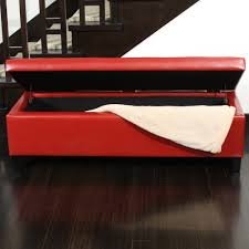 stratford red leather storage ottoman bench  great deal furniture