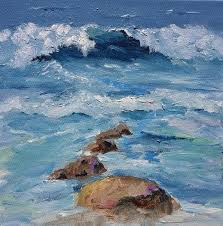 original ocean small sea abstract landscape acrylic modern beach acrylic painting on canvas cottage decor beach decor seaside style