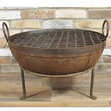 cast iron fire pit round rustic bbq bowl summer garden barbecue68