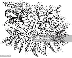 Hand Getekende Bloemen Kleurplaten Voor Premium Clipart