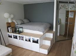 image of nice diy bed frame with storage