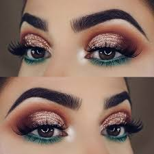 festive gold and green eye makeup look