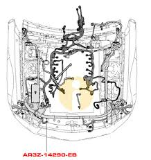 2010 mustang gt halogen headlight foglight harness w o anti shown laid out on schematic