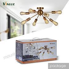 8 light sputnik chandelier brushed brass semi flush mount ceiling light modern pendant light for