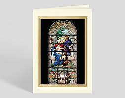 Holy Family Stained Glass Window Christmas Card 300891