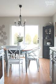 light kitchen table. light blue milk painted dining table with metal chairs kitchen