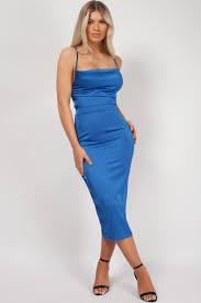 Light Blue Satin Cowl Neck Dress Royal Blue Satin Cowl Lace Up Back Bodycon Midi Dress