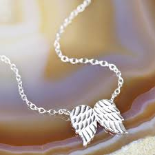 sterling silver double wing necklace