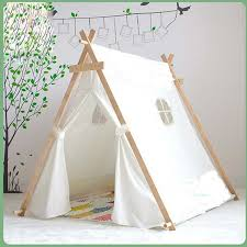Lovely kid play tent white fabric teepee children bed tent indoor children  paly house