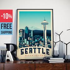 seattle washington usa american vintage travel poster seattle usa vintage print wall art home decoration wall decoration gift idea