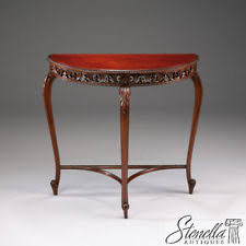 mahogany hall table. 2479: Mahogany Carved French Style Hall Table W Figural Grain Top ~ New