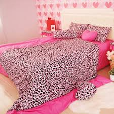 Pink Leopard Print Wallpaper For Bedroom Valentine Days Queen Bed Sheet Sets For Kids Bedding Decorations