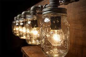 5 Mason Jar Lights - Pipe Light - Vanity Light - Edison Light - Rustic Light