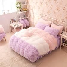 pastel pink bedding purple white pink girls cashmere wool velvet ruffle queen size throughout comforter sets
