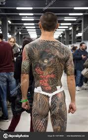 Tattoed Muž V Miláně Tattoo Convention 2018 Itálie Stock