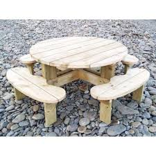 round pine picnic table 6 8 or 12 seater handmade in wales