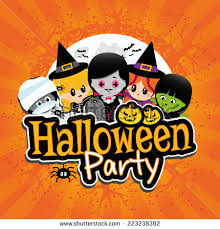 Halloween Party Banner on an orange textured background with children  dressed in costumes as dracula,