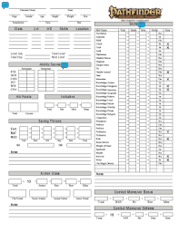 character sheet pathfinder fillable online www usr inf ufsm custom pathfinder character sheet