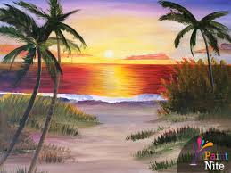 beach sunset by sarah shaw inactive paint nite