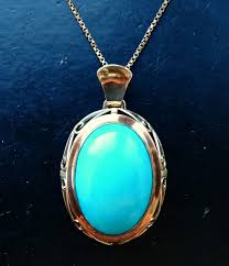 necklace 333 yellow gold pendant turquoise with chain